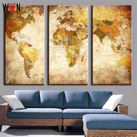 Livingroom World 3 panels world map wall pictures for living room modern