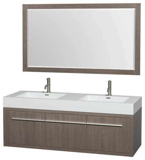 58 bathroom vanity double sink axa wall mounted double bathroom vanity gray oak 60 inch