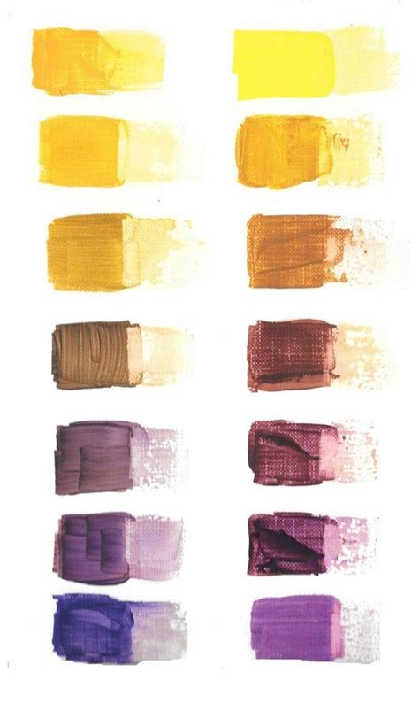yellow and purple chromatic color scales painted on paper