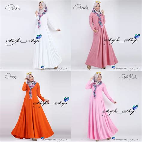 Gamis A Fit L dress gamis jersey busui polos muslimah all size fit l