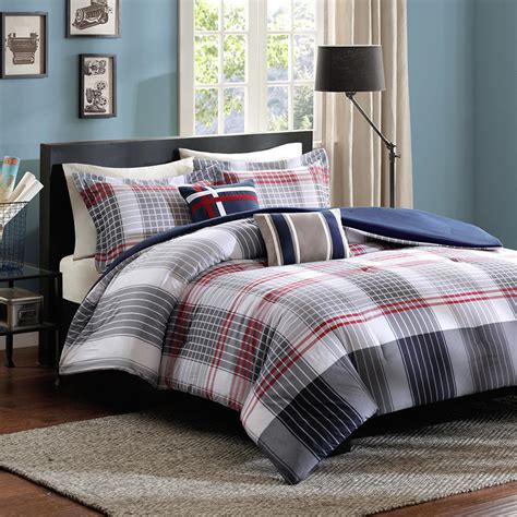 boy twin comforter sets elegant red navy white plaid striped teen boy bedding twin