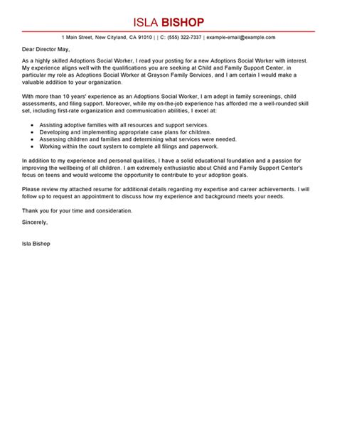 Adoption Support Letter Template Best Adoptions Social Worker Cover Letter Exles Livecareer