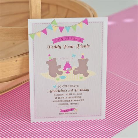 teddy picnic invitation template a girlie teddy picnic anders ruff custom