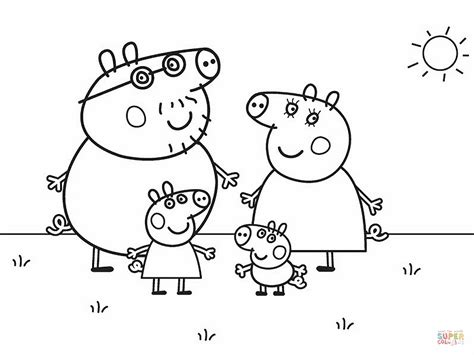 peppa pig family coloring paper coloring pages