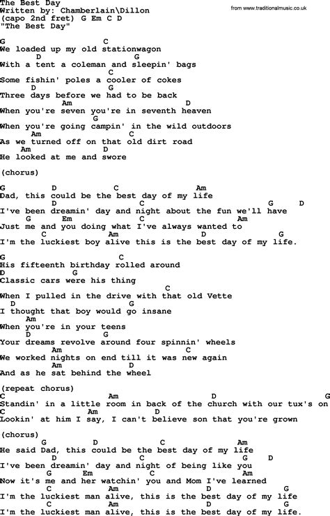 best days of lyrics george strait song the best day lyrics and chords