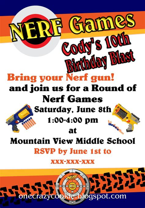 Nerf Gun Party Invitations Printable Nerf Invitation Template Free