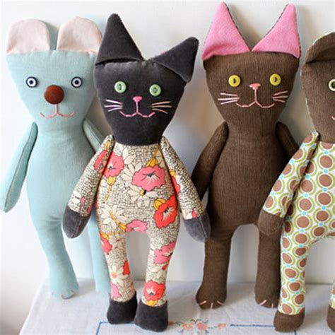 Handmade Animals - handmade corduroy cats rising late on etsy unique