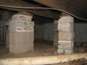 Crawl space repairs done with concrete cinder blocks and wood shims in