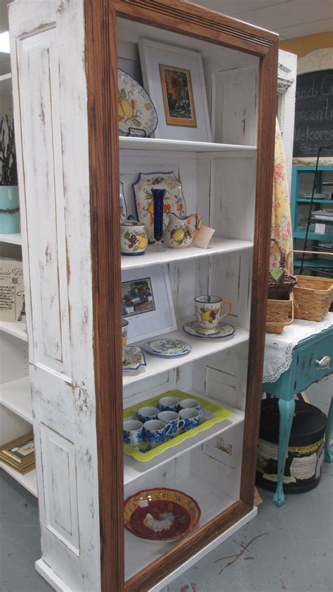 painted  distressed door bookcase    oak