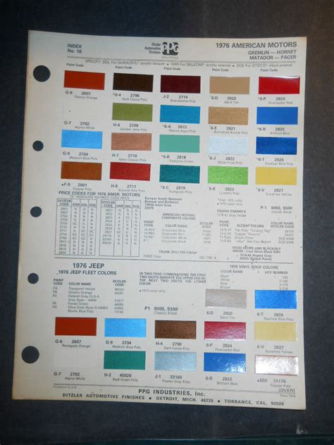 1976 american motors ditzler ppg color chips paint sle gremlin pacer jeep ebay