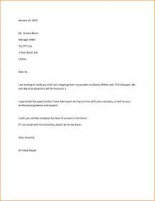Exle Letter Of Resignation Professional by 12 Resignation Letter Sle Receipts Template