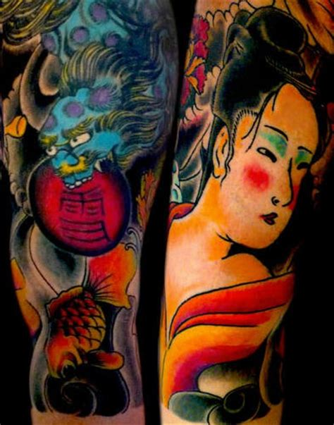tattoo geisha blue japanese geisha and blue dragon coloured tattoo