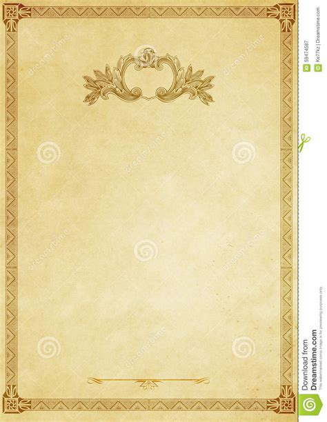 fashioned writing paper template paper background with decorative vintage border stock