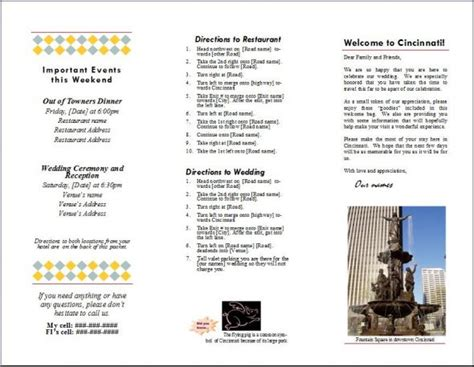 Destination Wedding Brochure Template by Welcome Brochure For Oot Bag Weddingbee Photo Gallery