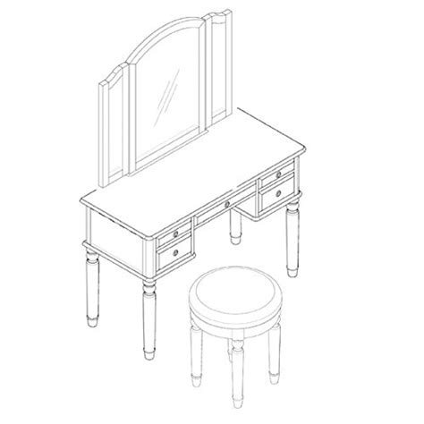 vanity set  mirror  stool vintage antique makeup dresser  women table drawer organizer