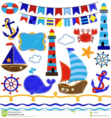 Wallpaper Nautical Theme - vector set of nautical and sailing themed elements stock image image 37742361