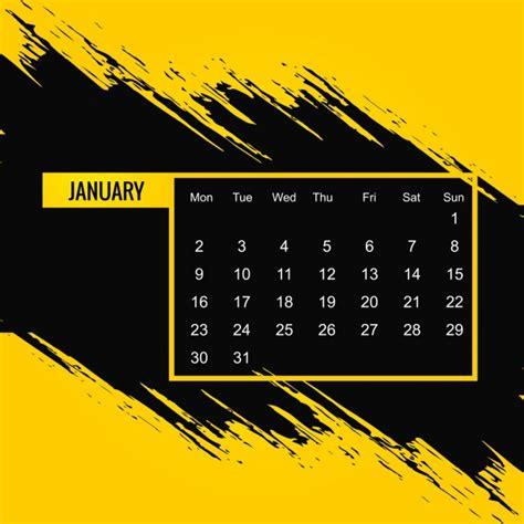 Calendario Negro Calendario Amarillo Y Negro Para El 2017 Descargar