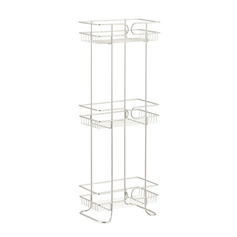 bathroom tower shelf satin nickel 3 tier bathroom shelf tower the container store