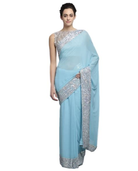 Cantika Syari Babyblue light blue color designer saree with silver ssequin work