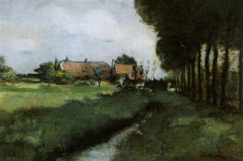 landscape with houses landscape with houses and stream 1881 john henry twachtman wikiart org