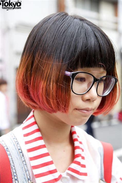 ebony two toned colored bobs harajuku girl s two tone bob pma overalls illustrated