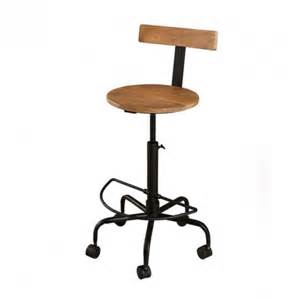 chaise de bar sur roulettes bois fer westwood
