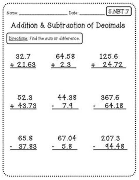5th Grade Math Worksheets Common by Common Math Worksheets For All 5th Grade Standards