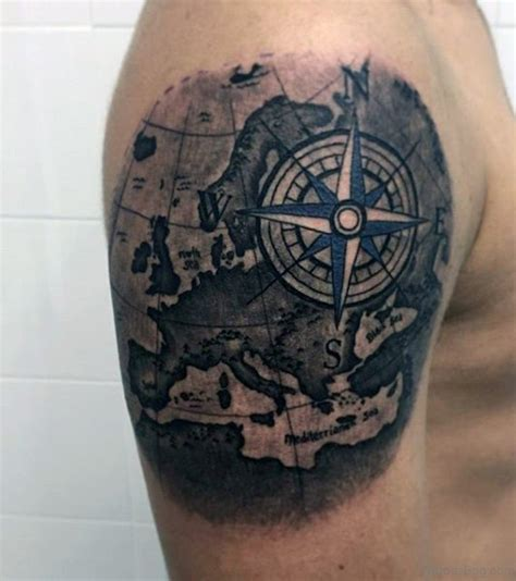 tattoo compass and map 49 funky map tattoos on shoulder