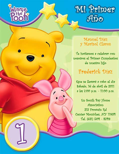 imagenes graciosas para invitacion de cumpleaños tarjeta de invitaci 243 n infantil de cumplea 241 os winnie the