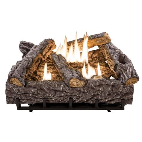 fireplace log set emberglow 24 in timber creek vent free dual fuel gas log