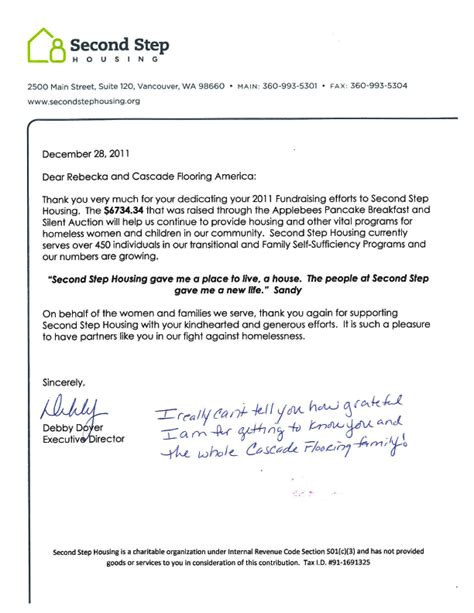 Thank You Letter For Auction Donation Cfa Community