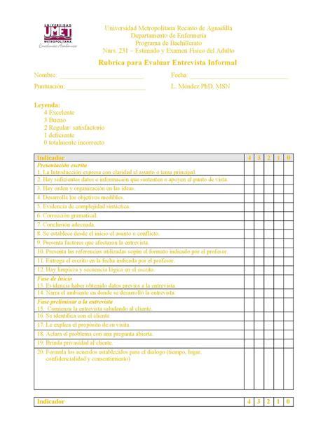 preguntas para entrevista de trabajo enfermeria calam 233 o nurs 231 rubrica evaluar la entrevista