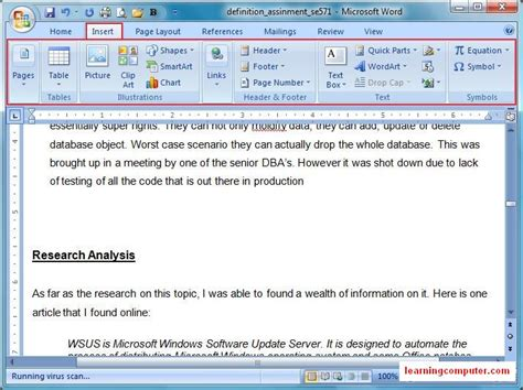 page layout microsoft word definition learn microsoft word 2007 insert tab it distance