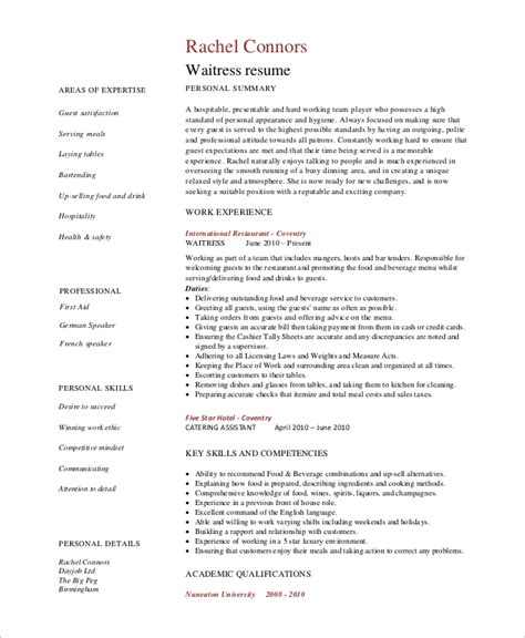 Resume Exles For Waiter Sle Waitress Resume 6 Exles In Word Pdf