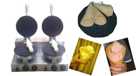 membuat ice cream cone gratis shipping electric dubbele hoofd kegel bakker ijsje