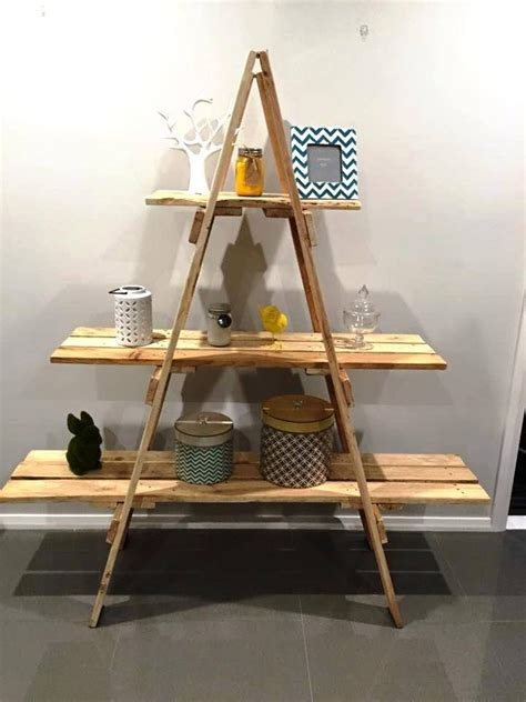 18 Creating A Shelving Unit Out Of A Wooden Ladder And Decorative Ladder Shelves