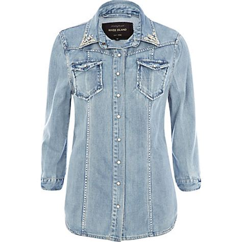 Roster Outer Denim Blouse light wash denim rhinestone collar outer shirt tops sale
