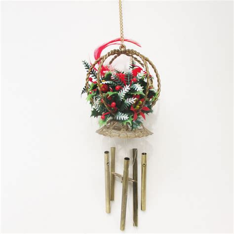 vintage christmas wind chime bird cage chimes red flocked bird