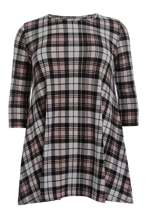 3 4 Sleeve Checked Dress plus size checked 3 4 sleeve crepe tunic dress