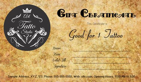 tattoo gift card antique style gift certificate template