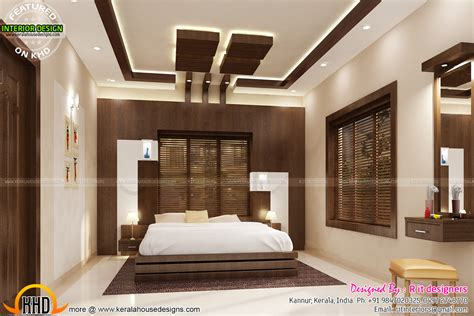 bifurcated stair bedroom kitchen interiors kerala home