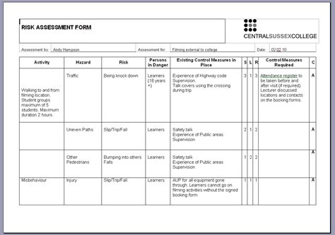 safety assessment template best photos of risk assessment exles safety risk
