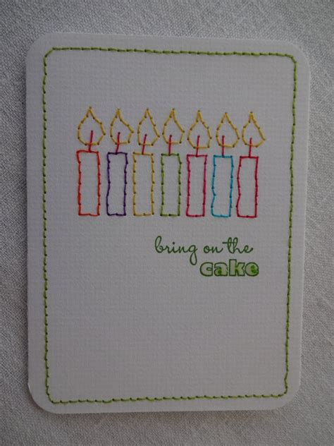Sewn Cards Handmade - stitched candles birthday card handmade greeting cards