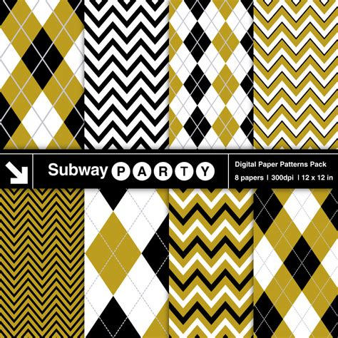 gold patterned digital paper gold black and white chevron and argyle digital papers pack