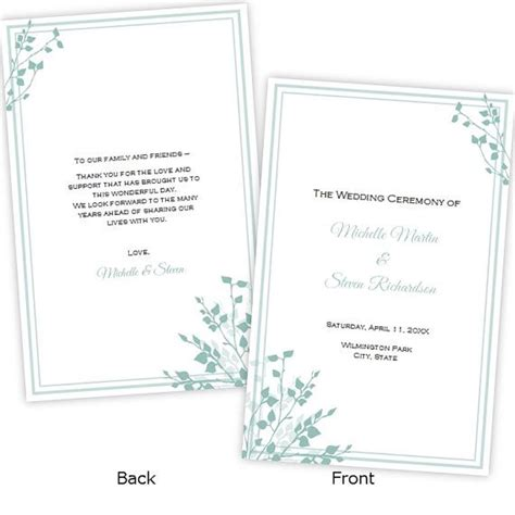 half fold menu template half fold wedding program template quot quot diy printable template instant