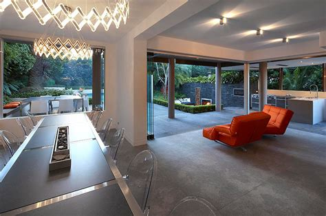 outdoor living with sunken lounge indoor dining area