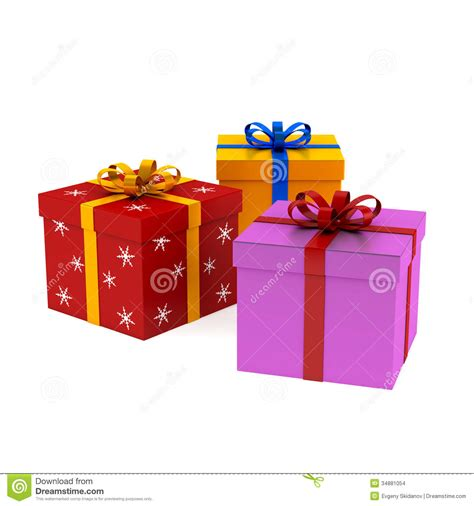 set of christmas and birhday gift boxes stock images