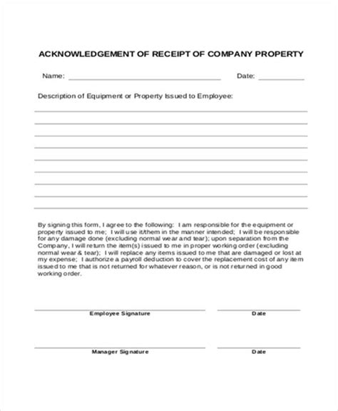 Acknowledgement Letter Estate company acknowledgement letter templates 5 free word
