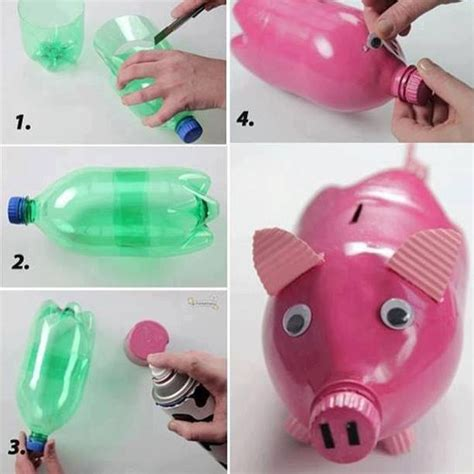 plastic bottle craft projects recyclebank soda bottle piggy bank diy crafts