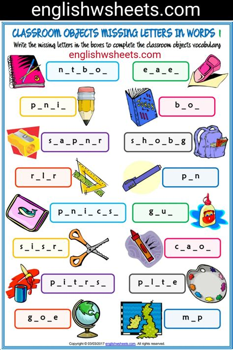 printable missing word games classroom objects esl printable missing letters in words